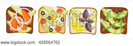 Avocado Sandwich Set. Healthy Snack. Toasts With Different Healthy Ingredients Vector Flat Isolated