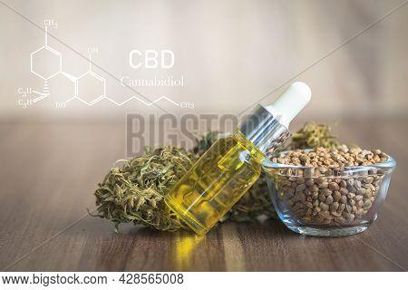Cbd Elements In Cannabis,  Hemp Oil Extracts In Jars, Medical Marijuana, Legal Light Drugs Prescribe