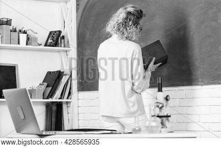 Educational Program For Primary School. Girl Adorable Teacher In Classroom. Educational Process Conc