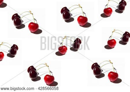 Set Of Bright Red Cherry Isolated On A White Background. Cherries Pattern. Cherries Closeup. Summer