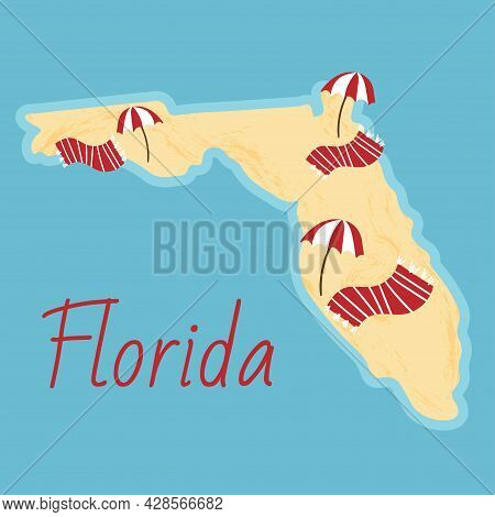 Simple Border Map On Florida - Sothern State On Usa. Land With Textured Background And Orange Letter