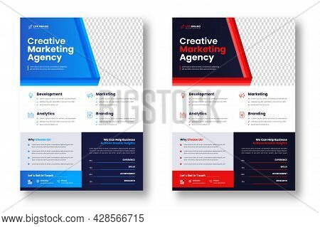 Corporate Business Flyer Template Design Set With Blue And Red Color. Digital Marketing Agency Flyer