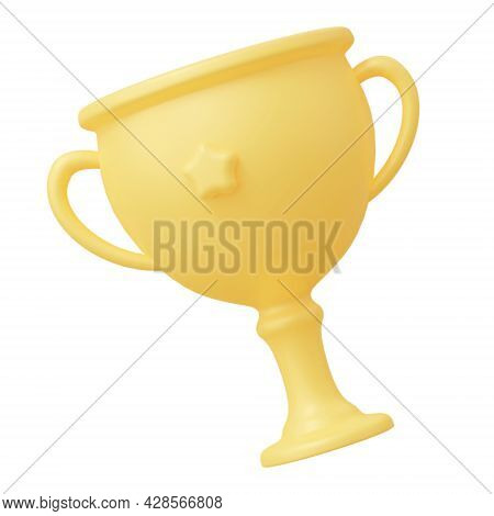 Cup Award Isolated On White Background. 3d Rendering Illustration.