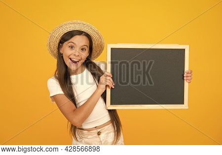 Good News. Cheerful Little Girl With Blackboard. Happy Childrens Day. Summer Camp Adventure. Ready F