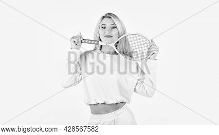 Summer Activity. Sport For Health. Girl Hold Tennis Racket In Hand. Fitness Woman. Play Game. Tennis
