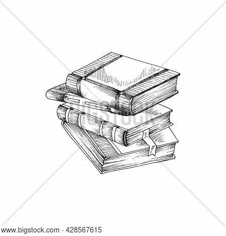 Hand Drawn Stack Of Books. Vector Illustration Isolated On White Background Sketch Of Stack Of Books