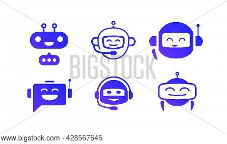 Chat Bot Vector Icon Set Isolated On White Background For Virtual Assistant Icon, Talk Bubble Speech