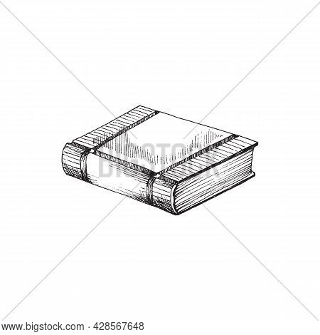 Separately Lying Closed Hand Drawn Book. Vector Illustration In Sketch Or Doodle Style Of Book For L