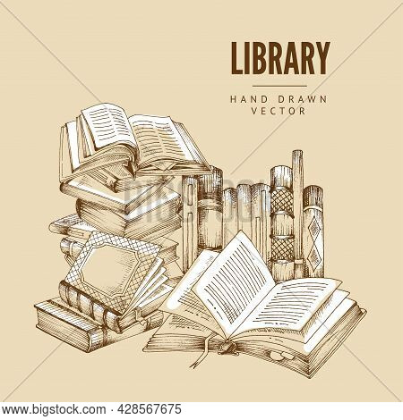 Vector Illustration Of Hand-drawn Background With Stacks Of Books And Text Library. Vintage Doodle S
