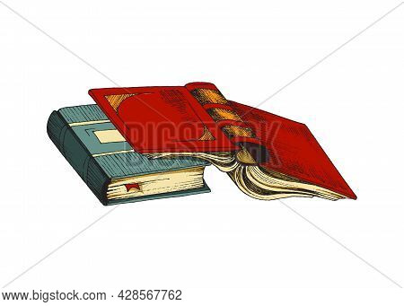 Closed And Opened Books, Education Or Entertainment Literature With Color Covers