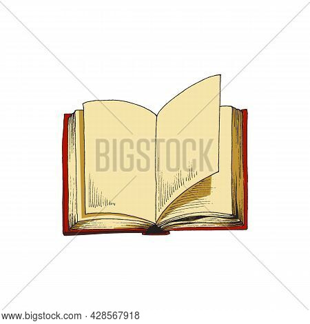Open Red Book In Vintage Sketch Style Vector Illustration Isolated