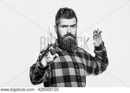 Beard Man, Bearded Male. Portrait Beard Man. Barber Scissors And Straight Razor, Barber Shop. Black