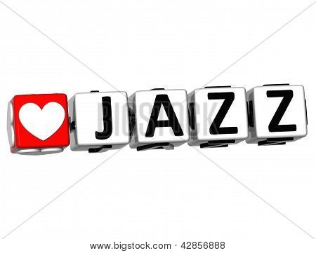3D Love Jazz Button Click Here Block Text