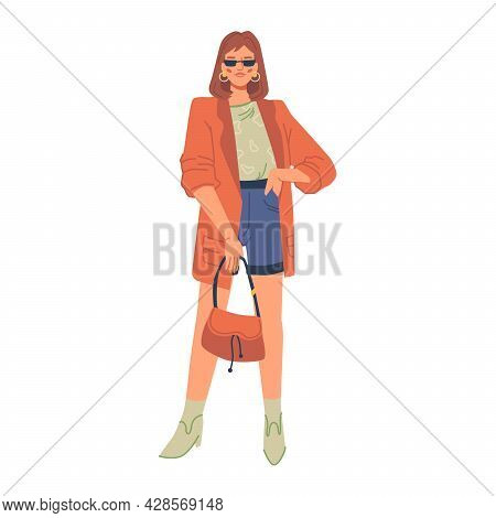 Stylish Modern Woman In Fashion Clothes Isolated Flat Cartoon Character. Vector Fashionable Lady Spr