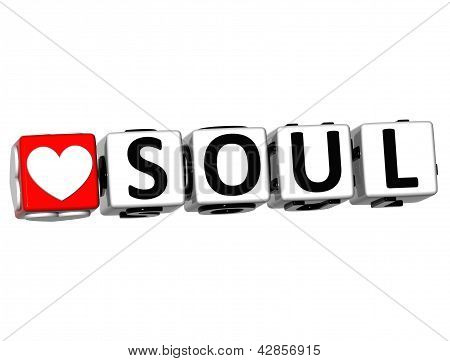 3D Love Soul Button Click Here Block Text