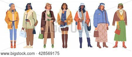 Set Of Stylish Modern Women In Fashion Winter Outfit Clothes Isolated Flat Cartoon Characters. Vecto