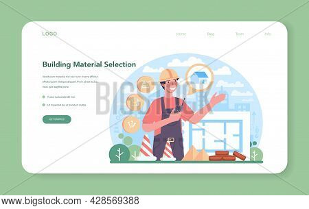 Civil Engineer Web Banner Or Landing Page. Professional Occupation