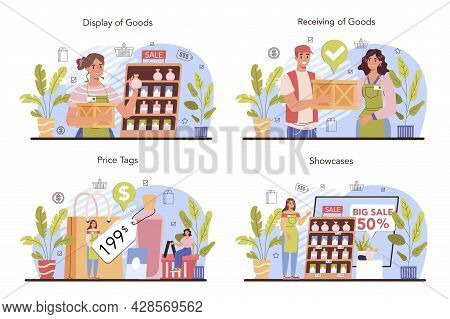 Commercial Activities Set. Entrepreneur Putting Goods On Showcases