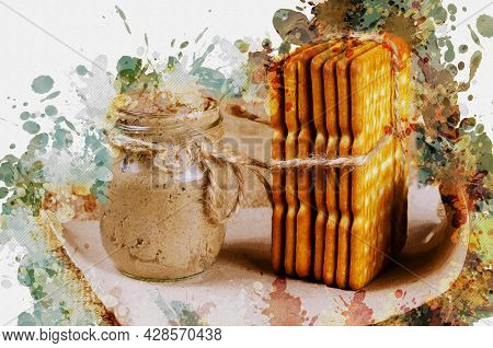 Digital Watercolor Painting Rectangular Crackers And A Glass Jar Of Liver Pate. Close-up Of Crispy,