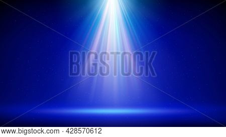 Spotlight Background. Illuminated Blue Stage. Divine Radiance, God. Backdrop For Displaying Products
