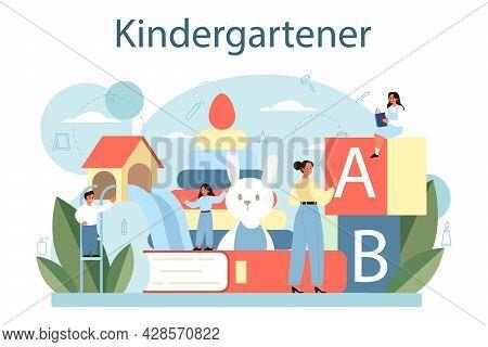Kindergartener. Professional Nany And Children Doing Different Activities.