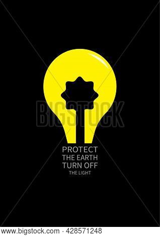 Turn Off The Light Save Earth Poster Flyer Social Media Post Template Design