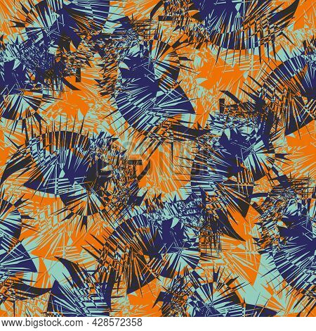 Cordyline Leaf Abstract Seamless Vector Pattern Background. Tropical Spiky Foliage Backdrop In Navy