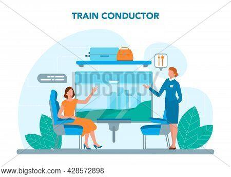 Train Conductor. Railway Worker In Uniform On Duty. Train Attendant