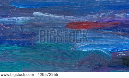 Abstract Oil Painting. A Mixed Fragment Of The Sea At Sunset. Summer Art Background. Natural Wave Te