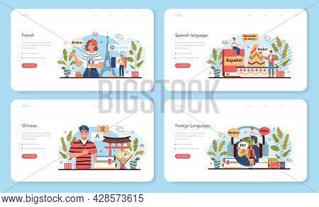 Language School Web Banner Or Landing Page Set. Professor Teaching