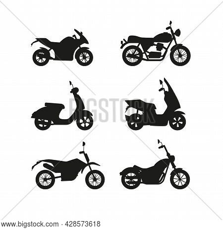 Set Of Black Silhouettes Of Different Models Modern Motorcycles And Scooters.