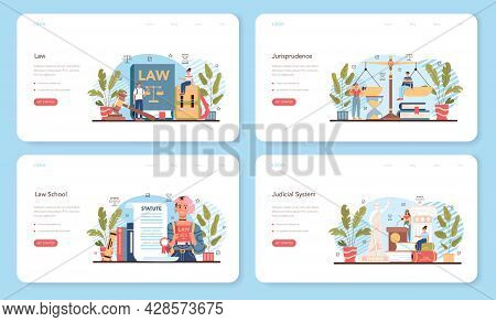 Law Class Web Banner Or Landing Page Set. Punishment And Judgement Education