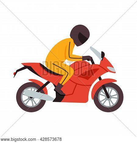 Motorcyclist Racer In Helmet Ride On Red Motorbike A Vector Illustration.