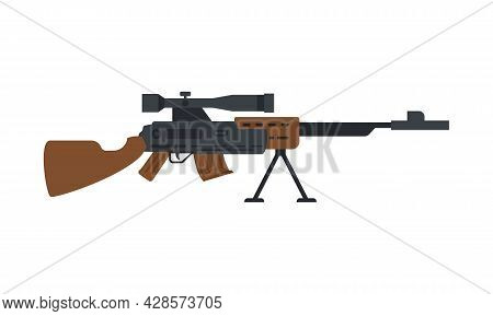 Sniper Rifle With Optic Sight And Wood Butt, Flat Vector Illustration Isolated.