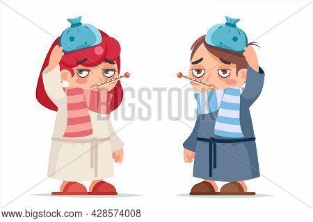 Girl And Boy Sick Ill Cold Virus Flu Disease Illness Infection Cartoon Design Character Vector Illus