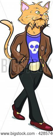 Anthropomorphic Animals. Human With Cat Head Wearing Cool Clothes. Animals Dressed As Humans. Feline