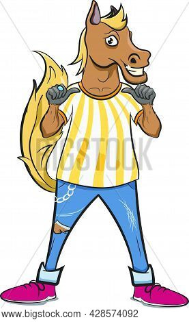 Cute Horse Dressed As A Referee Pointing Thumbs Towards Self. Anthropomorphic Animals. Cool Horse Ch