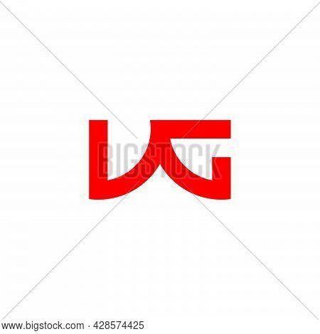 Letter Vg Simple Geometric Link Line Logo Vector