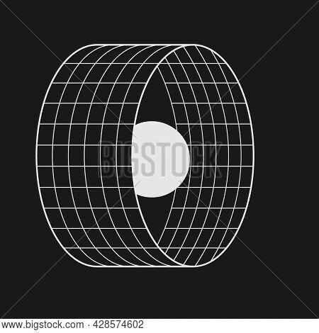 Retrofuturistic Circle Grid Portal With The Sphere. Cyber Design Element. Retrofuturistic Compositio