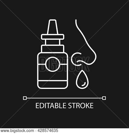 Nasal Spray White Linear Icon For Dark Theme. Relieve Nasal Discomfort. Treat Sinus Congestion. Thin