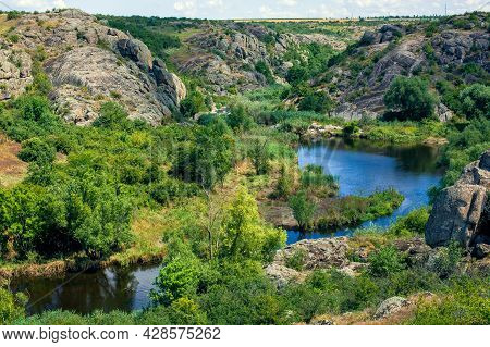 Natural Landscape Of Canyon With Granite Rocks On The Top Of The Cliff On A Sunny Summer Day, Mounta