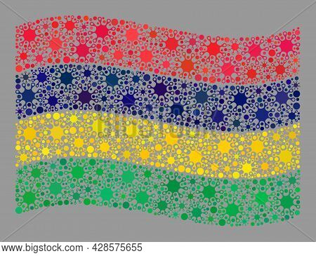 Waving Mosaic Mauritius Flag Designed Of Covid-2019 Elements. Mauritius Flag Collage Is Shaped With