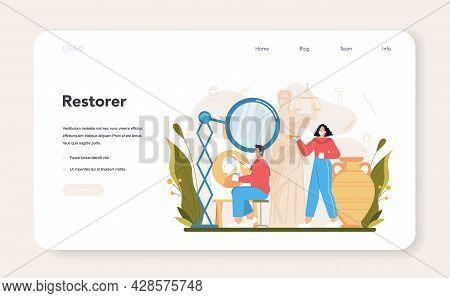 Restorer Web Banner Or Landing Page. Artist Restores An Ancient Statue