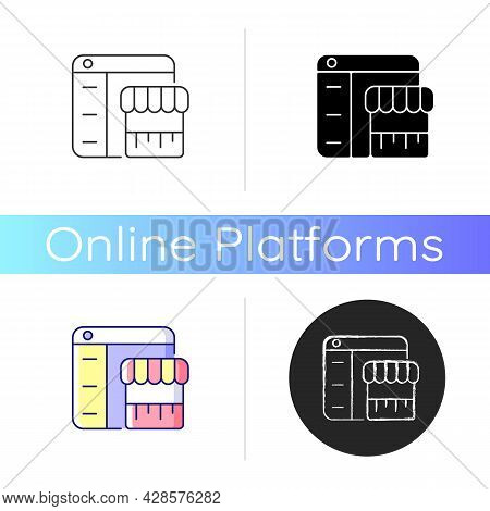 Online Marketplace Icon. Buying, Selling Items. Shopping From Different Sources. E-commerce. Digital