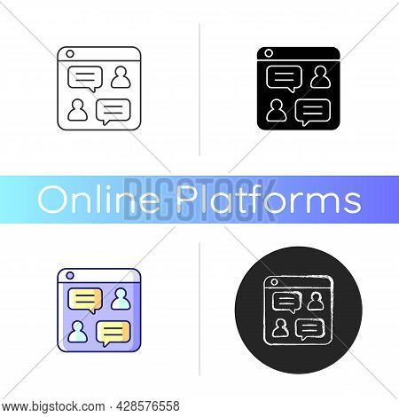 Social Discussion Platforms Icon. Posting Messages And Questions On Website. Chat Rooms. Online Foru