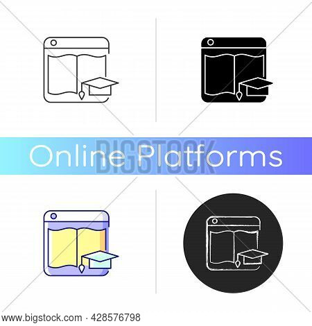 Learning Platforms Icon. Website For Students And Teachers. Online Course Platform. E-learning Site.