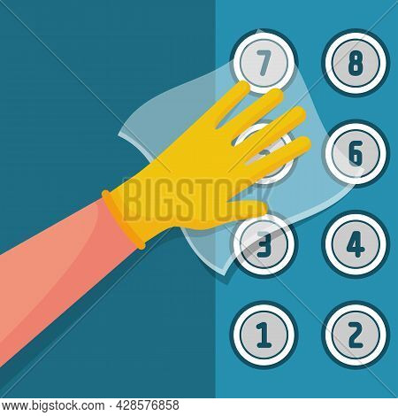 Worker Wipes The Elevator Buttons With Napkin. Cleaner Disinfects Lift Buttons. Hygiene Public Space
