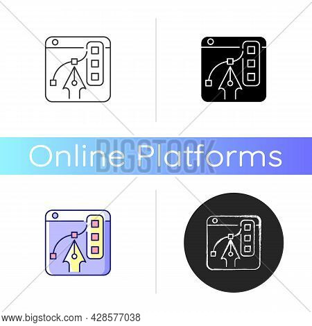 Graphic Design Platforms Icon. Tool For Experienced Digital Artists. Illustrations Editing. Free Onl