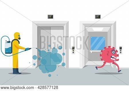 Elevator Disinfection. Cleaning Lift Doors, Open And Closed. Worker In Chemical Hazmat Suit Protecti
