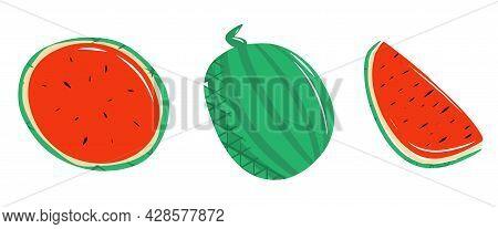 Set Of Watermelon Elements, Whole Watermelon, Half, Quarter, Watermelon Slice, Cute Illustration, Wa